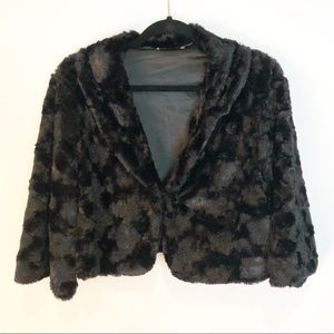Black Faux Fur Crop Bolero SHruf